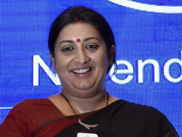 HRD minister Smriti addresses a gathering to promote the use of 'Modi app' in New Delhi on Wednesday.