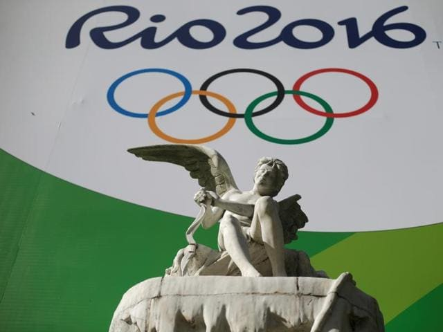 A giant banner advertising the 2016 Rio Olympics is pictured outside a tunnel which connects Botafogo and Copacabana neighbourhoods in Rio de Janeiro, Brazil.