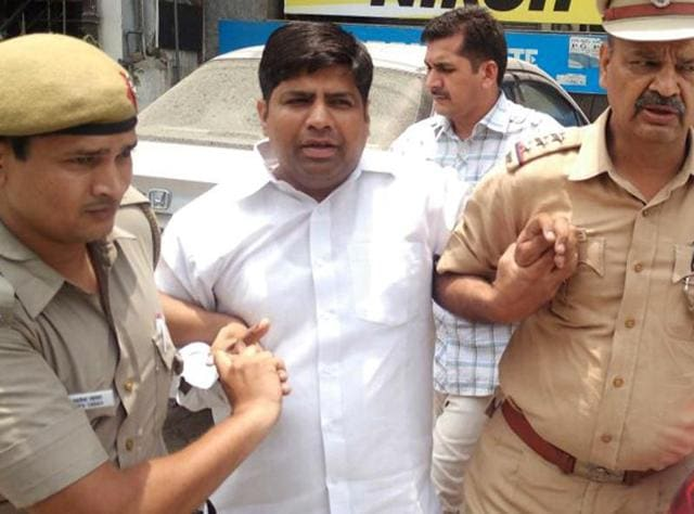 Aam Aadmi Party (AAP) MLA Dinesh Mohaniya arrested by the Delhi Police for allegedly misbehaving with a woman and slapping a 60-year-old man, in New Delhi.