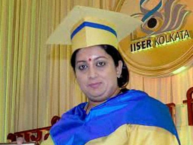 Union HRD minister Smriti Irani presenting at the 4th  convocation of the Indian Institute of Science Education & Research in Nadia district of West Bengal on Tuesday.