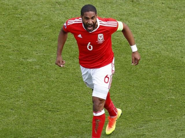 Wales' defender Ashley Williams runs during the Euro 2016 round of sixteen football match Wales vs Northern Ireland at the Parc des Princes stadium in Paris.