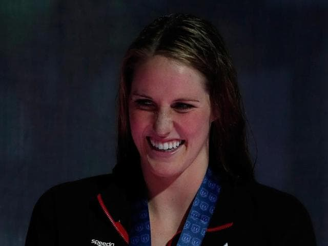 Missy Franklin of the United States participates in the medal ceremony for the Women's 200-metre freestyle during day four of the 2016 US Olympic team swimming trials in Omaha, Nebraska.