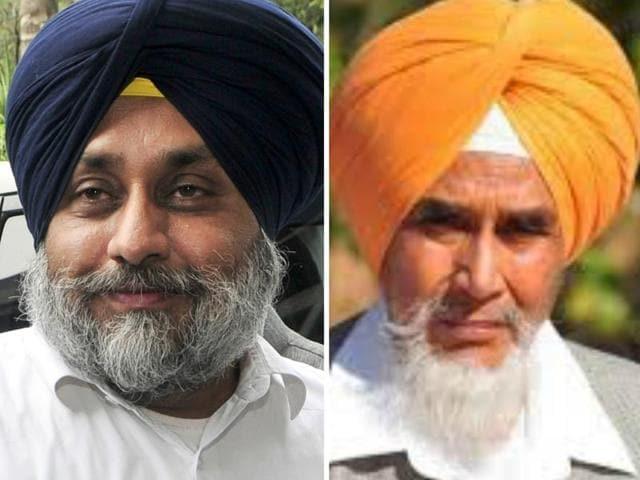 Punjab deputy CM Sukhbir Singh Badal (left) and AAP's state convener Sucha Singh Chhotepur (right)