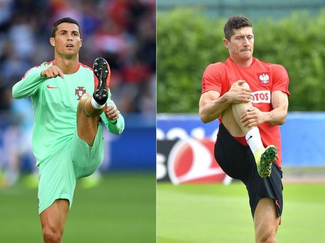 Combination picture of Portugal's captain and forward Cristiano Ronaldo and Poland's captain and forward Robert Lewandowski.