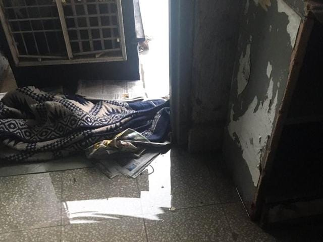A hostel room flooded with water at Panjab University in Chandigarh on Wednesday.