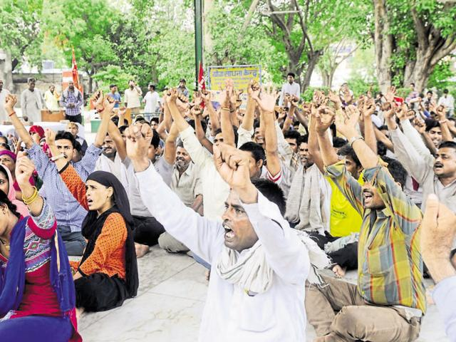 Employees of the four power utilities in Haryana went on a two-day strike on Wednesday to protest against the government move to outsource operations and maintenance of 23 power subdivisions in the state.