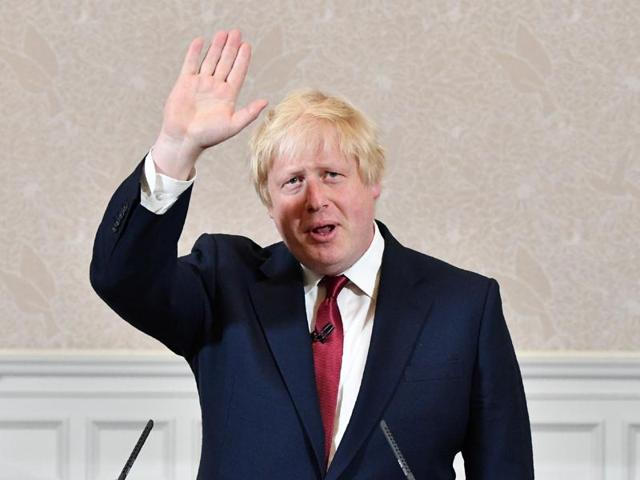 Brexit campaigner and former London mayor Boris Johnson prepares to leave after addressing a press conference in central London.