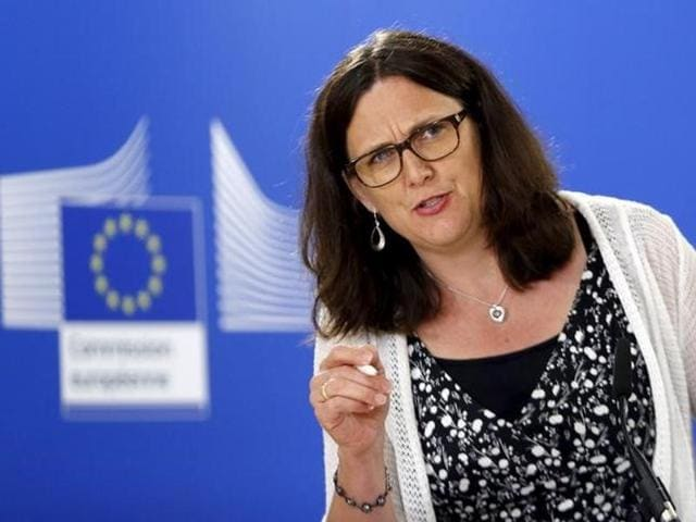 European trade commissioner Cecilia Malmstrom said EU will deal with US, as of now and for the immediate future, with the United Kingdom as a member of the European Union.
