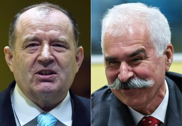 This combination of file pictures shows former Bosnian Serb interior minister Mico Stanisic (left) and Bosnian Serb war crimes suspect Stojan Zupljanin.