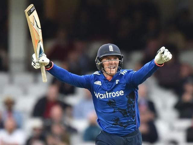 England's Jason Roy plays a shot during play in the fourth One Day International (ODI) cricket match between England and Sri Lanka at The Oval cricket ground in London.