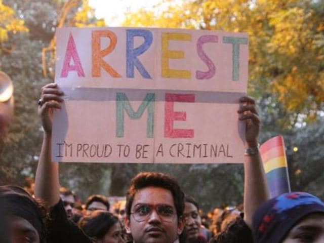 LGBT activists protest against Supreme Court's judgement on Section 377 in December 2013.