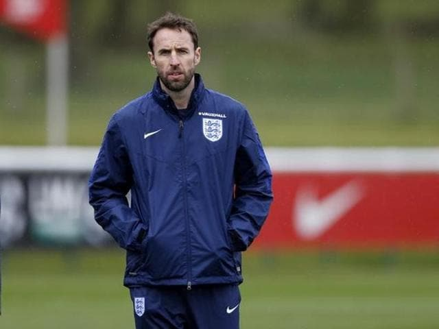 England's Under 21 manager Gareth Southgate during training at St George's Park.