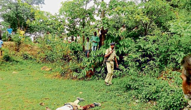 The body of one of the criminals killed by PLFI cadre at Hundingdah forest, located on the Ranchi-Khunti border, on Monday.