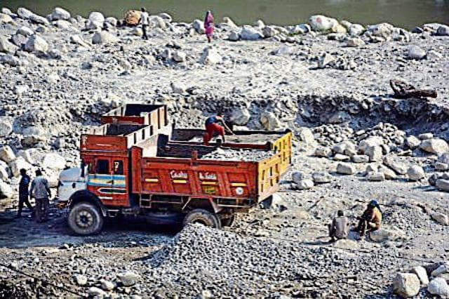 Illegal quarrying along the Pindar river.