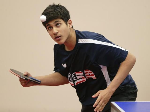 Kanak Jha serves the ball during an exhibition match in Dunellen. The 16-year-old qualified for the Olympic games in Rio as the youngest male table tennis player in the tournament's history.