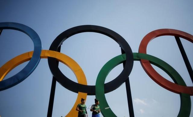 A set of Olympic rings installed at Madureira Park in Rio de Janeiro, Brazil.