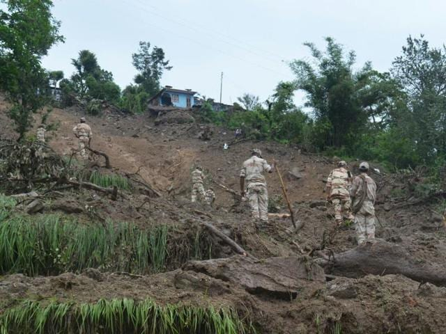 Rescue operation being carried out by ITBP in Pithoragarh area.
