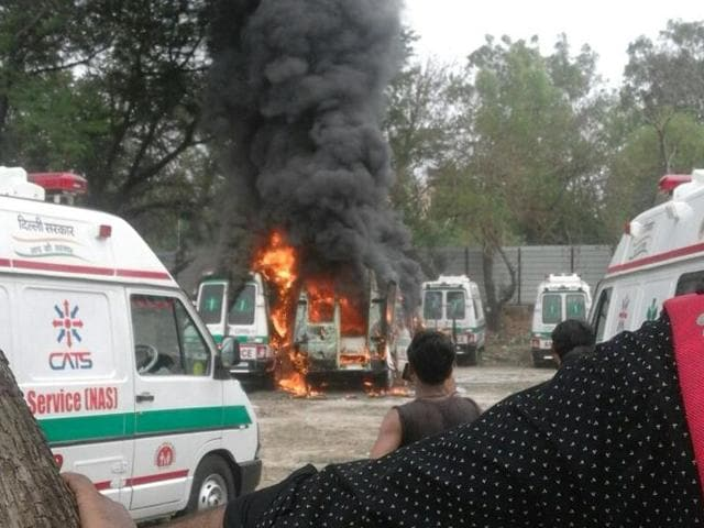 The two gutted ambulances were part of the 110 new ambulances bought by the Delhi government to add to the existing fleet of 155 Centralised Accident & Trauma Services (CATS) ambulances.