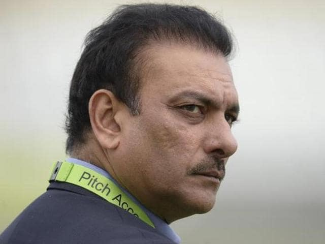 Ravi Shastri looks on before the third one-day international cricket match against England.