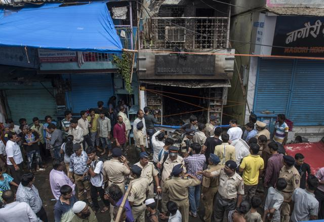 The fire brigade took around 45 minutes to douse the blaze at the Wafa medical store, owned by the Khan family, at Juhu galli in Andheri.