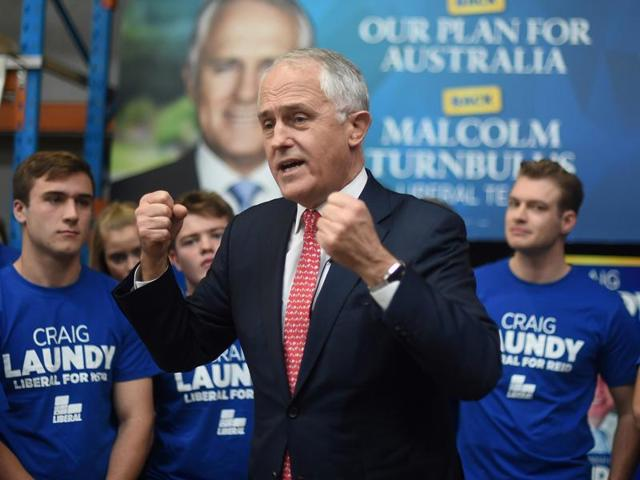 Australian Prime Minister Malcolm Turnbull addresses young Liberals during a rally at Robotic Automation in the Sydney suburb of Newington.