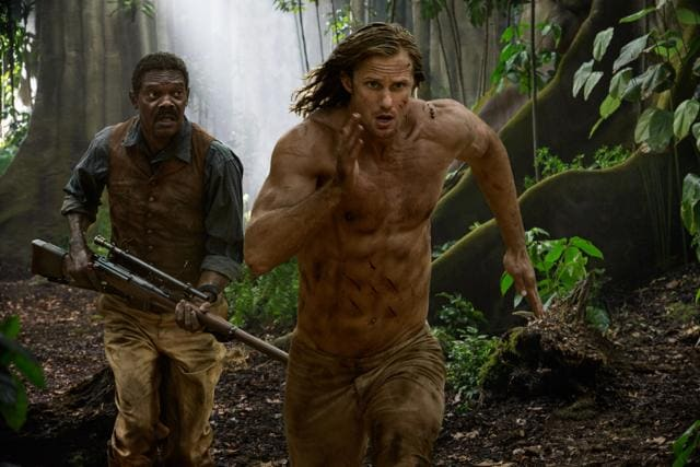 """Author Burroughs writes of Tarzan as a man who can """"strip off the thin veneer of civilization"""". Bates, director, takes this literally, stripping Skarsgard shirtless"""