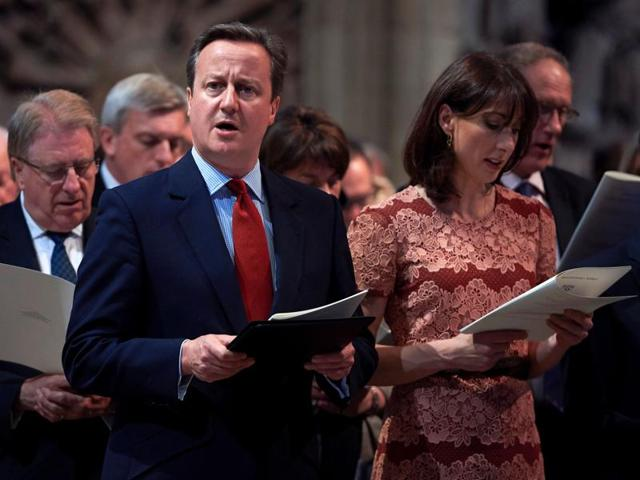 British Prime Minister David Cameron and his wife Samantha attend a Service on the Eve of the Centenary of the Battle of the Somme at Westminster Abbey in London on June 30, 2016.