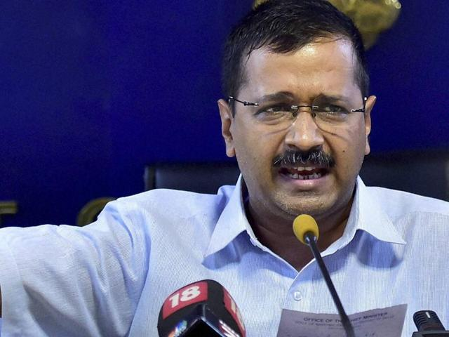 Delhi chief minister Arvind Kejriwal gestures as he addresses a press conference in New Delhi.