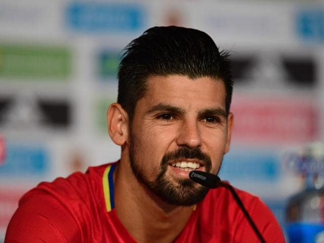 Spain's Nolito celebrates after scoring their second goal during Euro 2016.