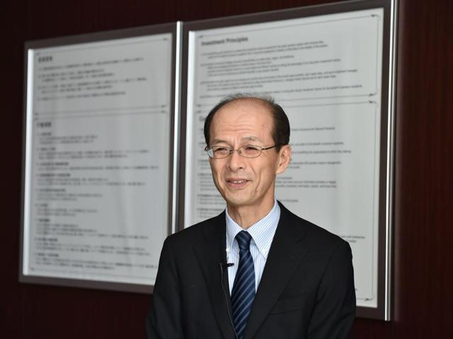 A file picture shows Japan's Government Pension Investment Fund president Norihiro Takahashi in an interview with AFP in Tokyo.