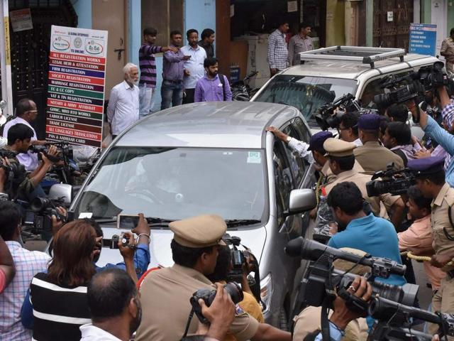 Five accused, arrested by NIA in connection with suspected IS links, being produced at Nampally criminal courts in Hyderabad on Thursday.