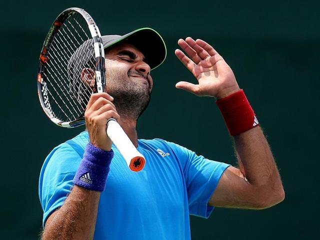 India's Yuki Bhambri reacts after losing a set against Czech Republic's Jiri Vesely.