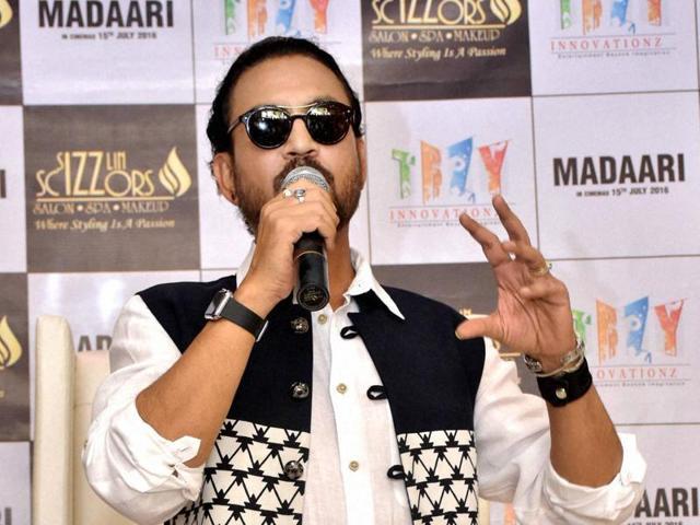 Irrfan Khan promotes Madaari in Jaipur on Wednesday.