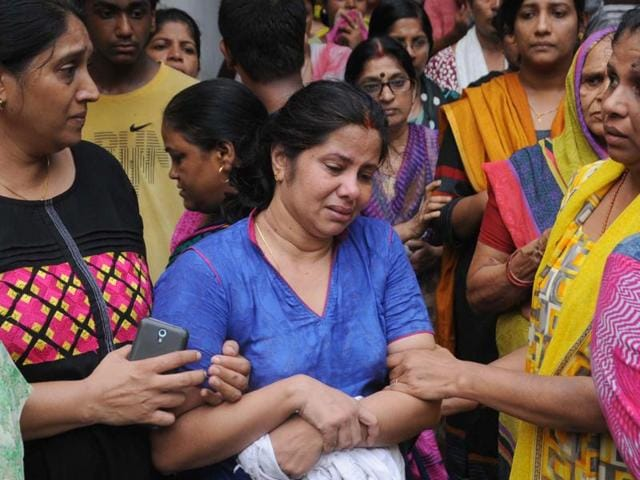 Mother of Rajat who died of assault injuries in Mayur Vihar Phase III in New Delhi.