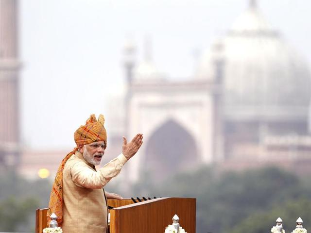 Prime Minister Narendra Modi addressing the nation from the ramparts of the Red Fort on the occasion of 69th Independence Day celebration.