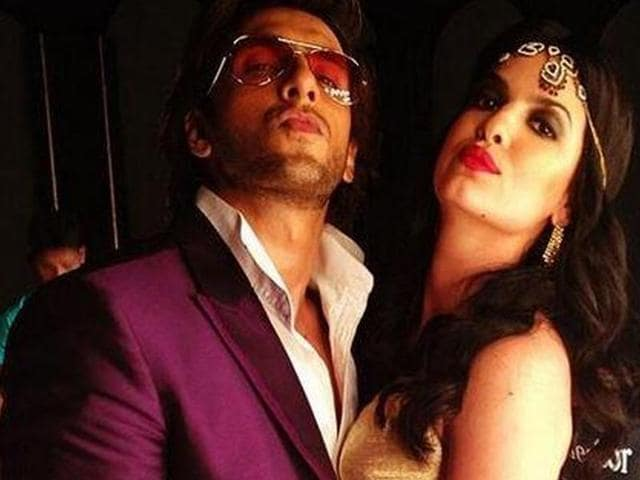 Bollywood actor Ranveer Singh during a shoot for a condom advertisement.