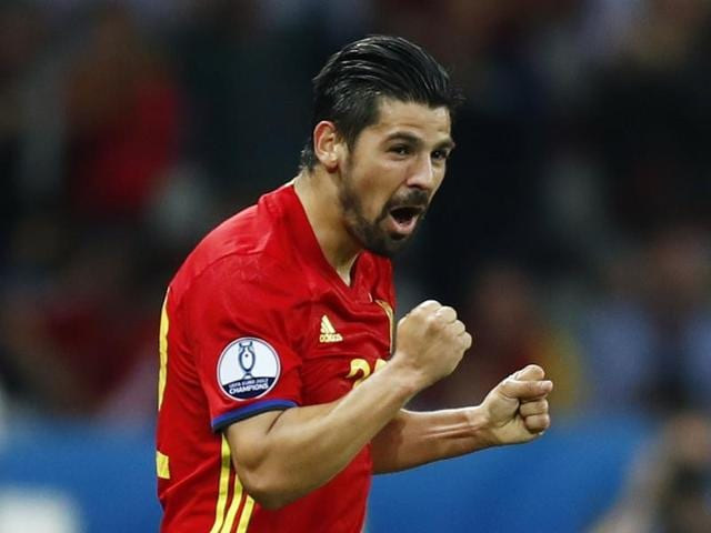 Spain's Nolito celebrates after scoring a goal against Turkey in Euro 2016 in Stade de Nice.
