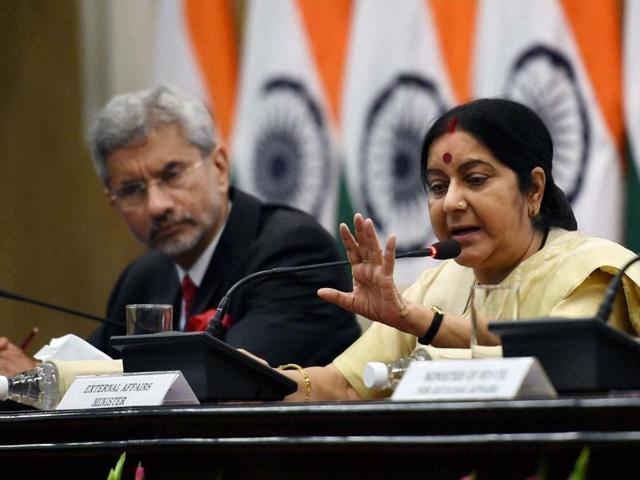 New Delhi: External Affairs Minister Sushma Swaraj with Foreign Secretary S Jaishankar at a press conference in New Delhi on Sunday. PTI Photo by Subhav Shukla (PTI6_19_2016_000134A)