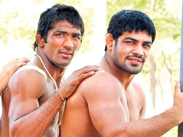 (From Left to Right) Wrestlers Yogeshwar Dutt, Sushil Kumar, and Narsingh Pancham Yadav during a send-off function ahead of the London 2012 Olympics.