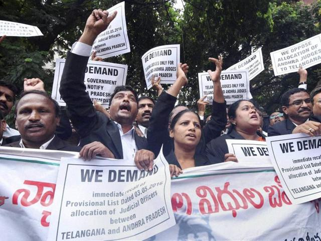 Telangana advocates have been protesting the provisional allocation of judges under the AP Reorganisation Act, claiming that Andhra judges were getting the benefit.