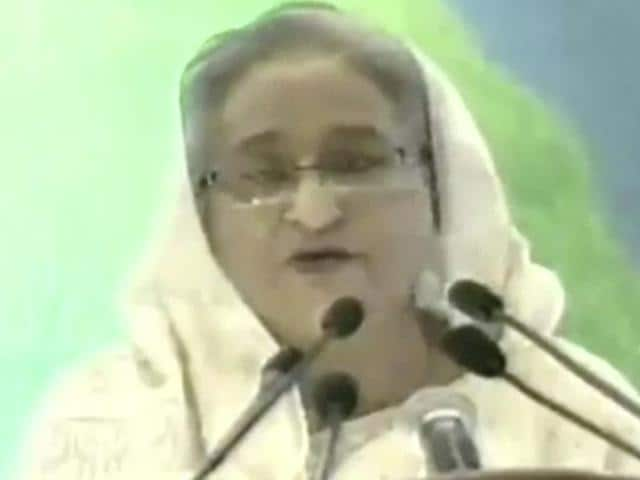 In this image made from video provided by ATN News, Bangladesh's Prime Minister Sheikh Hasina makes a nationally televised speech.