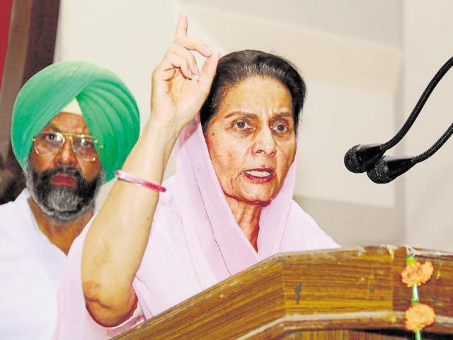 Congress leader Preneet Kaur addressing a gathering in Bathinda on Friday.