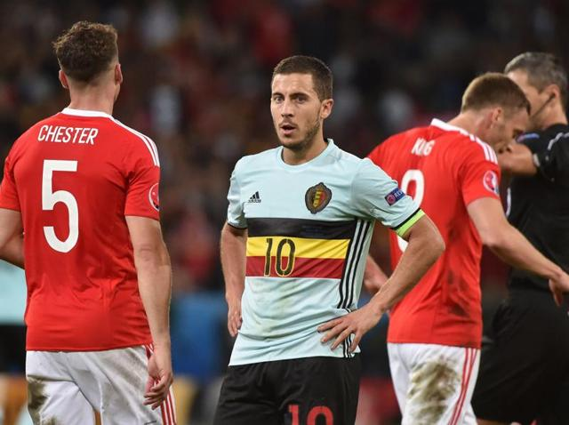 Belgium's forward Eden Hazard reacts at the end of the Euro 2016 quarterfinal football match between Wales and Belgium at the Pierre-Mauroy stadium in Villeneuve-d'Ascq near Lille.(AFP Photo)
