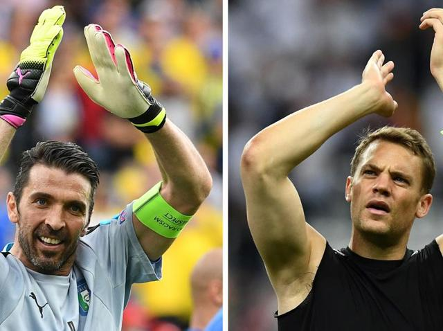 This combination of file pictures shows Italy's goalkeeper Gianluigi Buffon (L) and Germany's goalkeeper Manuel Neuer (R). Germany will face Italy in their Euro 2016 quarter-final football match in Bordeaux on July 2, 2016.