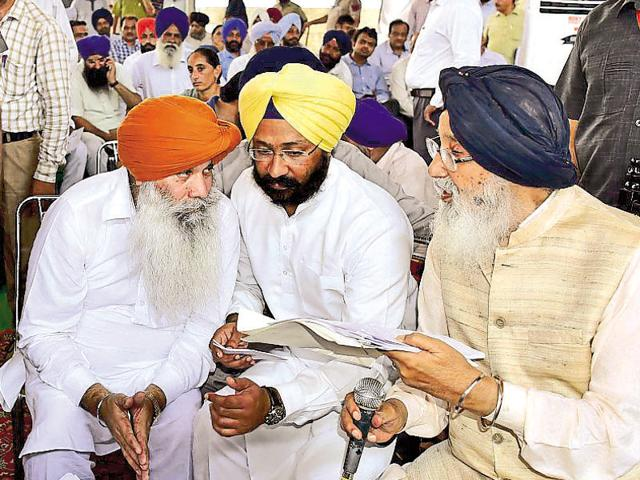 Punjab chief minister Parkash Singh Badal during a 'Sangat Darshan' at a village in Dirba constituency in Sangrur on Friday.