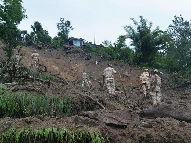 SDRF personnel conducting rescue operations after heavy rains in Uttarakhand.