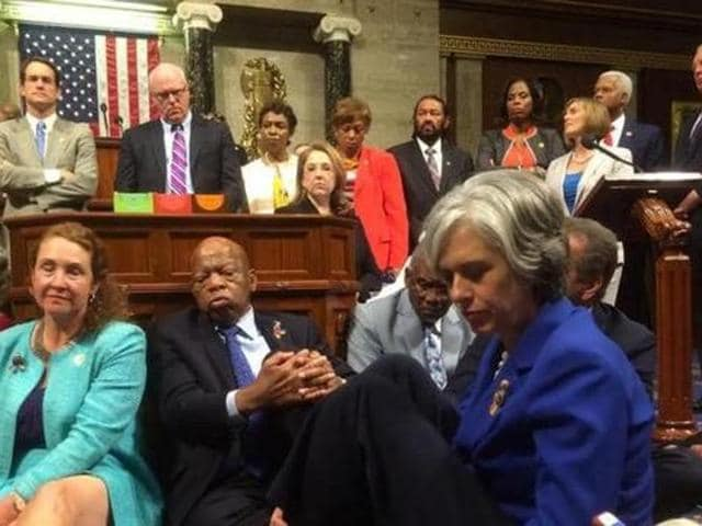 A photo shot and tweeted from the floor of the US House of Representatives Democratic members of the House staging a sit-in to demand action on common sense gun legislation.