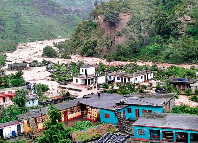 Villagers abandoned their homes after heavy rainfall at Ghaat village in Uttarakhand's Pithoragarh district.
