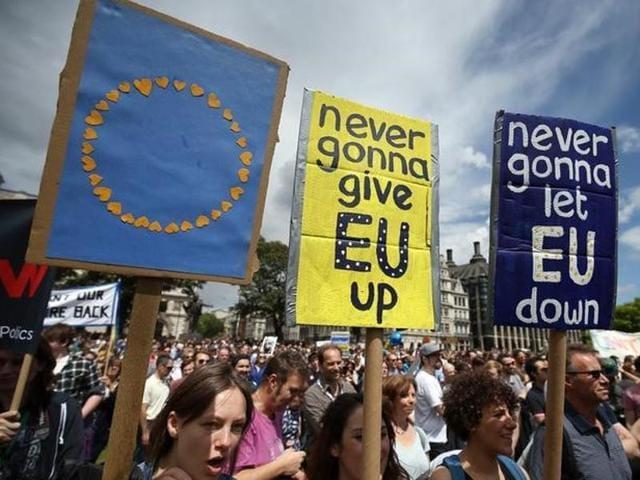 Brexit,EU referendum,Protest march in London