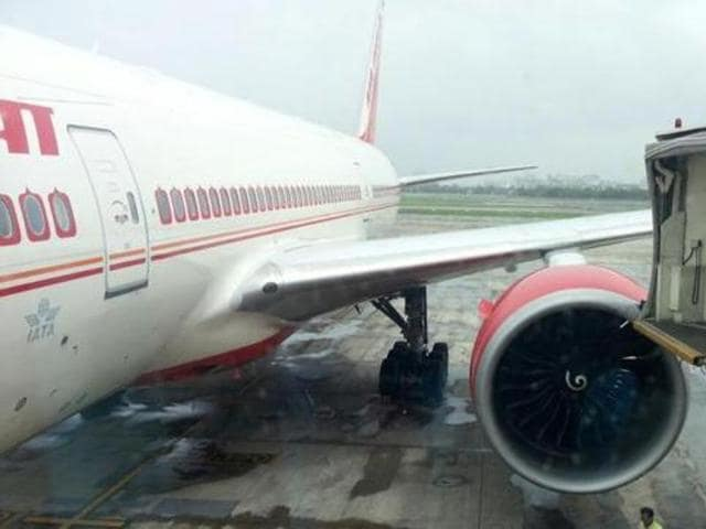 An Air India flight hit an aerobridge in Mumbai on Friday.